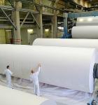 Dos hombres frente a un rollo inmenso de papel